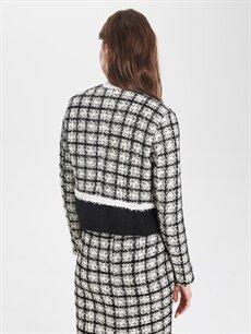 Kadın Sateen Yakasız Ekose Ceket