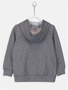 %42 Pamuk %58 Polyester  Kız Çocuk Fermuarlı Kapüşonlu Sweatshirt