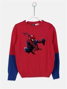 Kırmızı Erkek Çocuk Spiderman İnce Triko Kazak 9W1018Z4 LC Waikiki