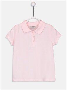 Pembe Kız Çocuk Polo Yaka Pamuklu Basic Tişört 9W1441Z4 LC Waikiki