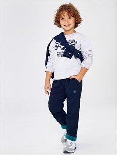 %100 Polyester Erkek Çocuk Beli Lastikli Pantolon