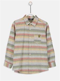 %100 Pamuk Çizgili Standart Uzun Kol Erkek Çocuk Çizgili Pamuklu Tişört