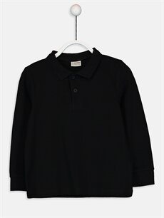 Siyah Erkek Çocuk Uzun Kollu Basic Tişört 9W2687Z4 LC Waikiki