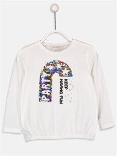 Beyaz Kız Çocuk Çift Yönlü Payetli Pamuklu Tişört 9W3139Z4 LC Waikiki