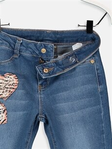 %90 Pamuk %7 Polyester %3 Elastan Kız Çocuk Çift Yönlü Payetli Slim Jean Pantolon