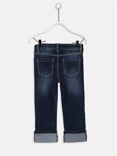%80 Pamuk %18 Polyester %2 Elastan Normal Bel Capri Kız Çocuk Pul İşlemeli Jean Capri