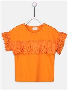 Turuncu Kız Çocuk Fisto Detaylı Pamuklu Tişört 9W4577Z4 LC Waikiki