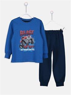 Mavi Erkek Çocuk Baskılı Pijama Takımı 9W5001Z4 LC Waikiki