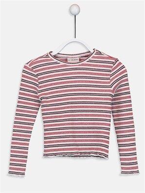 Kız Çocuk Çizgili Pamuklu Tişört - LC WAIKIKI