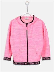 Fuşya Kız Çocuk Fermuarlı Kapüşonlu Sweatshirt 9W5237Z4 LC Waikiki