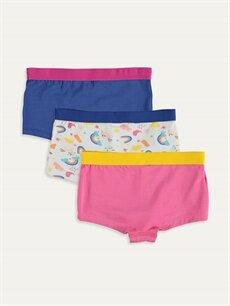 %95 Pamuk %5 Elastan İç Giyim Alt Standart Kız Çocuk Pamuklu Boxer 3'lü