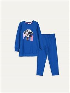Mavi Kız Çocuk Mickey Mouse Pamuklu Pijama Takımı 9W5439Z4 LC Waikiki