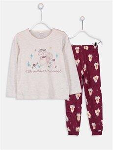 Bej Kız Çocuk Baskılı Pamuklu Pijama Takımı 9W5450Z4 LC Waikiki