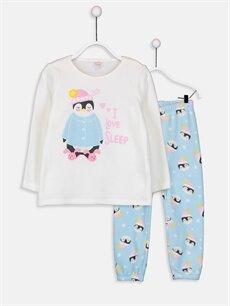 Ekru Kız Çocuk Polar Pijama Takımı 9W5541Z4 LC Waikiki