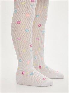 LC Waikiki Beyaz Kız Çocuk Kalp Desenli Külotlu Çorap