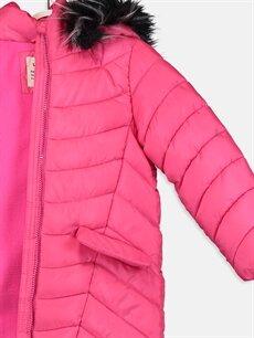 %100 Polyester Kız Çocuk Kapüşonlu Kalın Kaban