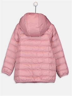 %100 Polyester %100 Polyester İnce Mont Kız Çocuk Kapüşonlu İnce Mont