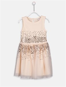 Bej Kız Çocuk Pul İşlemeli Tüllü Elbise 9W8006Z4 LC Waikiki