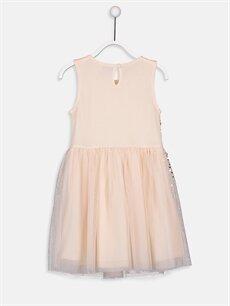 %100 Polyester %100 Pamuk Diz Üstü Desenli Kız Çocuk Pul İşlemeli Tüllü Elbise