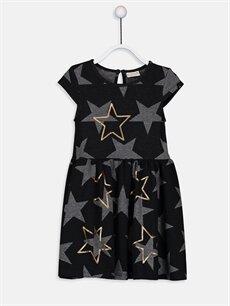 Siyah Kız Çocuk Baskılı Pul İşlemeli Elbise 9W8014Z4 LC Waikiki