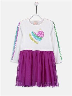 Kız Çocuk Pul İşlemeli Pamuklu Elbise - LC WAIKIKI