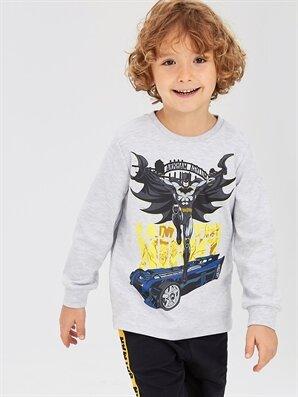Erkek Çocuk Batman Baskılı Uzun Kollu Tişört - LC WAIKIKI