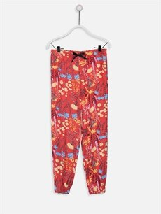 Kırmızı Kız Çocuk Desenli Viskon Pantolon 9W8110Z4 LC Waikiki