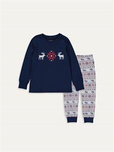 Lacivert Erkek Çocuk Baskılı Pamuklu Pijama Takımı 9W8523Z4 LC Waikiki