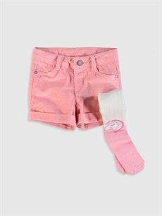 Pembe Kız Çocuk Kadife Şort ve Külotlu Çorap 9W9736Z4 LC Waikiki