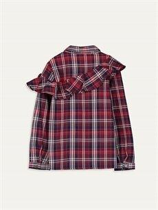 %98 Pamuk %1 Poliamid %1 Metalik iplik  Kız Çocuk Fırfırlı Ekose Gömlek