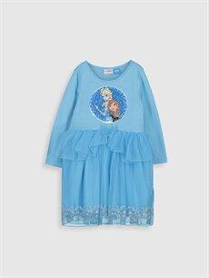 %100 Pamuk Diz Üstü Desenli Kız Çocuk Çift Yönlü Payetli Frozen Elbise