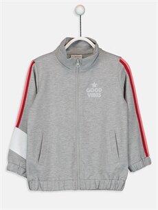 Gri Kız Çocuk Fermuarlı Sweatshirt 9WG649Z4 LC Waikiki