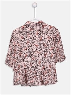 %100 Viskoz  Kız Çocuk Desenli Viskon Gömlek