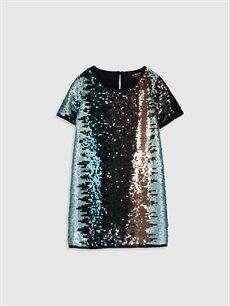 Siyah Kız Çocuk Pul Payet İşlemeli Elbise 9WG764Z4 LC Waikiki
