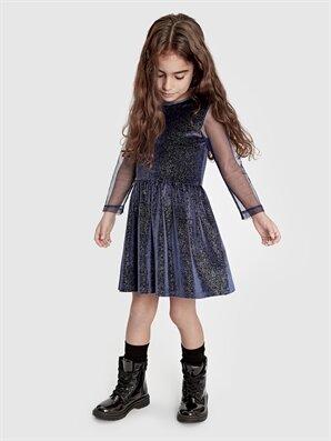 Kız Çocuk Işıltılı Kadife Elbise - LC WAIKIKI