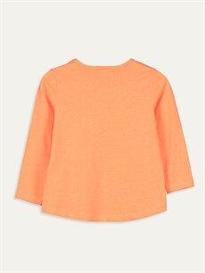 %49 Pamuk %51 Polyester Baskılı Tişört Bisiklet Yaka Uzun Kol Standart Kız Çocuk Yazı Baskılı Tişört