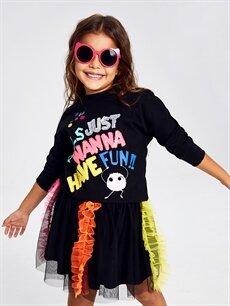 Kız Çocuk Kız Çocuk Yazı Baskılı Pamuklu Tişört