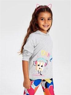 Kız Çocuk Kız Çocuk Baskılı Kapüşonlu Tişört
