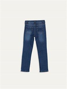 %90 Pamuk %7 Poliester %3 Elastan Normal Bel Dar Kız Çocuk Nakışlı Slim Jean Pantolon