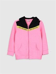 Pembe Kız Çocuk Fermuarlı Kapüşonlu Sweatshirt 9WI561Z4 LC Waikiki