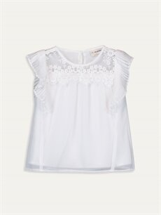 Beyaz Kız Çocuk Dantel Detaylı Şifon Bluz 9WI581Z4 LC Waikiki