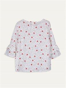 %100 Viskoz Standart Desenli Uzun Kol Bluz Kız Çocuk Desenli Viskon Bluz