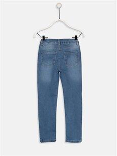%79 Pamuk %19 Polyester %2 Elastan Normal Bel Dar Kız Çocuk Slim Jean Pantolon
