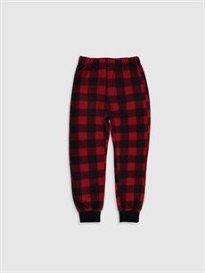 %100 Polyester Standart Pijamalar Erkek Çocuk Ekose Polar Pijama Alt