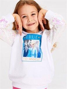 Kız Çocuk Kız Çocuk Elsa Baskılı Sweatshirt