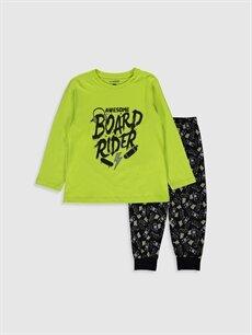 Yeşil Erkek Çocuk Baskılı Pamuklu Pijama Takımı 9WL605Z4 LC Waikiki