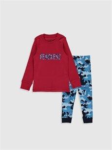 Kırmızı Erkek Çocuk Baskılı Pamuklu Pijama Takımı 9WL694Z4 LC Waikiki