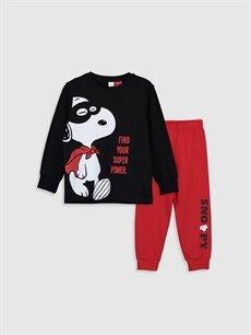 Siyah Erkek Çocuk Snoopy Baskılı Pamuklu Pijama Takımı 9WL862Z4 LC Waikiki