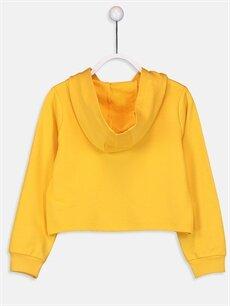 %50 Pamuk %50 Polyester  Kız Çocuk Yazı Baskılı Kapüşonlu Sweatshirt
