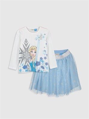 Kız Çocuk Elsa Baskılı Tişört ve Etek - LC WAIKIKI